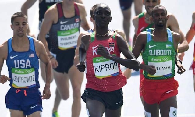 Kenya's Asbel Kiprop (centre) during the round one 1500m race at the Rio Olympics.