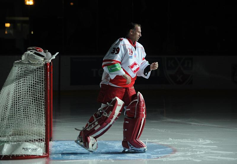 Legendary Czech goalkeeper Dominik Hasek warms up prior to his first official match at the Russian open of the Kontinental Hockey League (KHL), on September 9, 2010
