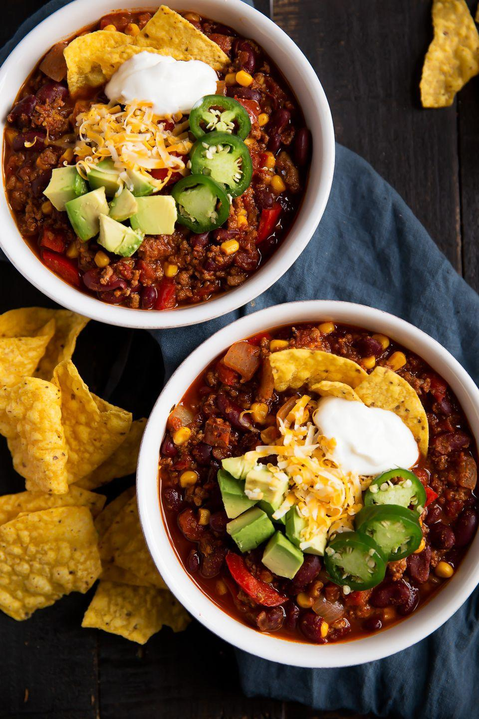 "<p>Here's a chili so healthy you can eat two bowls, depending on how many chips you pair it with.</p><p><a href=""https://www.goodhousekeeping.com/food-recipes/a10650/turkey-chili-pot-pie-recipe-ghk0111/"" rel=""nofollow noopener"" target=""_blank"" data-ylk=""slk:Get the recipe from Ambitious Kitchen »"" class=""link rapid-noclick-resp""><em>Get the recipe from Ambitious Kitchen »</em></a></p>"