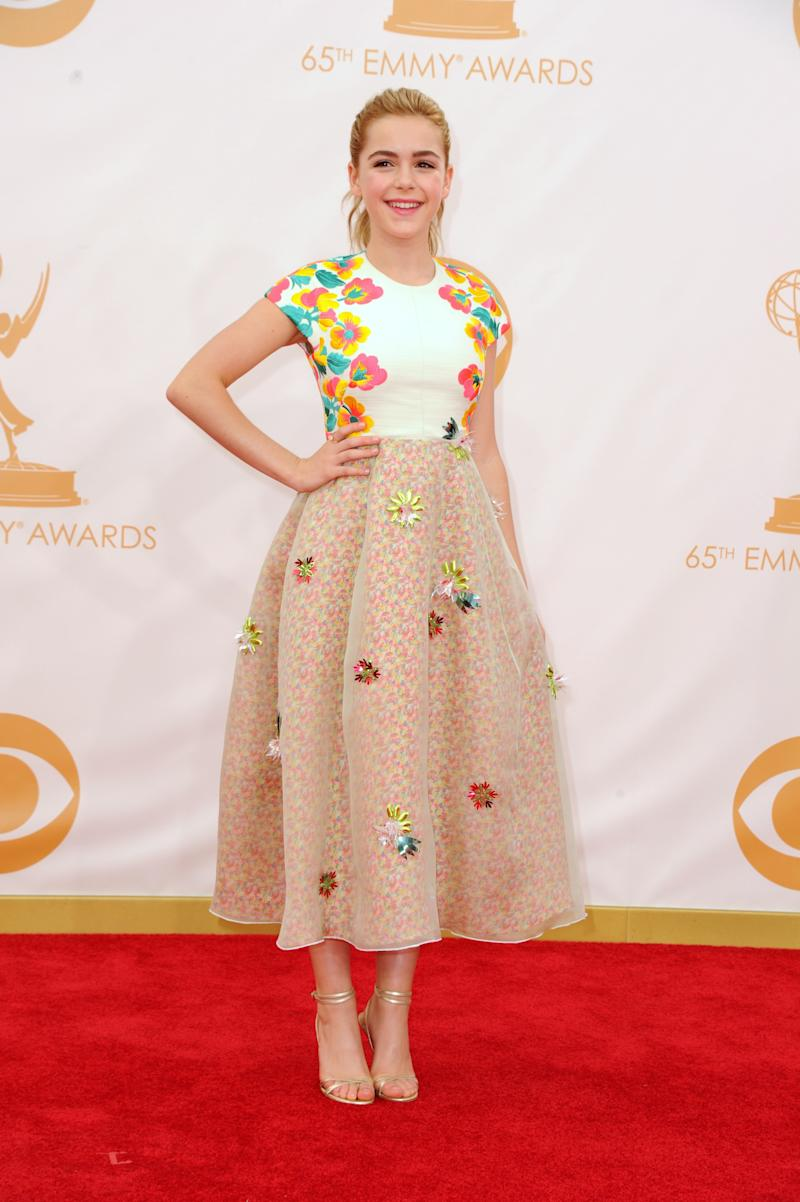 Kiernan Shipka lead the way for stylish teens on the red carpet. Here she was wearing Delpozo, at the 65th Annual Primetime Emmy Awards held at Nokia Theatre L.A. Live on September 22, 2013 in Los Angeles, California.