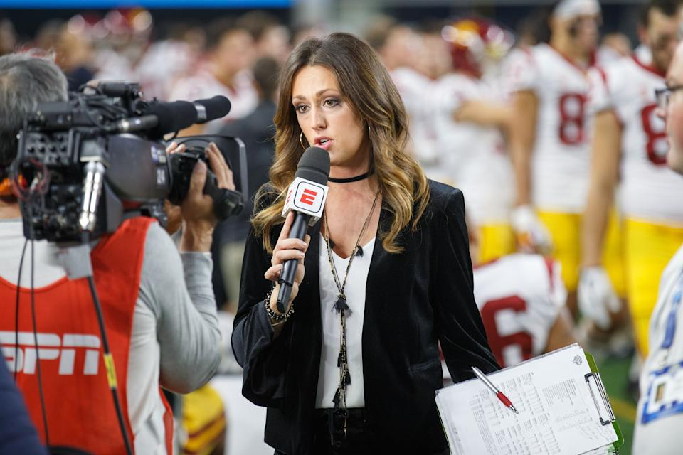 ARLINGTON, TX - DECEMBER 29: ESPN sideline reporter Allison Williams talk to the camera on the sideline during the Cotton Bowl Classic matchup between the USC Trojans and Ohio State Buckeyes on December 29, 2017, at the AT&T Stadium in Arlington, TX. Ohio State won the game 24-7. (Photo by Matthew Visinsky/Icon Sportswire via Getty Images)