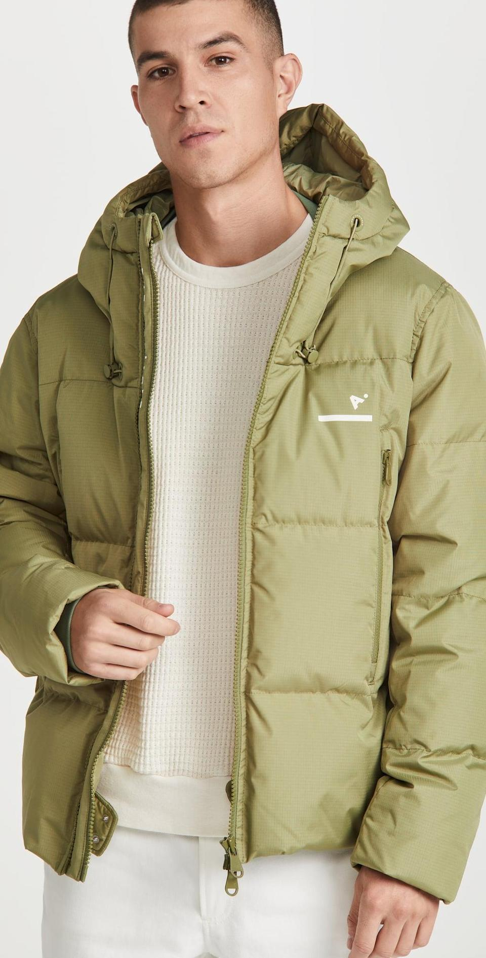 <p>This <span>The Arrivals AER Classic Puffer Jacket</span> ($495) is a splurge, but it's an investment to hold onto for years. We're drawn to the textured and luxe-looking fabric.</p>