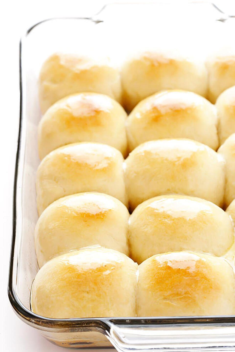 "<p>Skip the store-bought rolls and mix up a batch of these buttery bites that take under an hour to make. </p><p><strong>Get the recipe at <a href=""https://www.gimmesomeoven.com/1-hour-soft-buttery-dinner-rolls/"" rel=""nofollow noopener"" target=""_blank"" data-ylk=""slk:Gimme Some Oven"" class=""link rapid-noclick-resp"">Gimme Some Oven</a>.</strong> </p>"