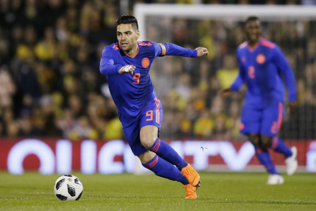 In this photo taken on Tuesday, March 27, 2018, Colombia's Radamel Falcao during a friendly soccer match between Colombia and Australia in London. (AP Photo/Tim Ireland)