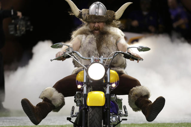 <p>Minnesota Vikings mascot Ragnar the Viking rides onto the field before an NFL football game between the Vikings and the Detroit Lions in Minneapolis. </p>