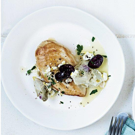 "<p>This mouthwatering dish pairs well with a vibrant, medium-bodied Moscofilero.</p><p><a href=""https://www.foodandwine.com/recipes/chicken-breasts-with-artichoke-olive-sauce"">GO TO RECIPE</a></p>"
