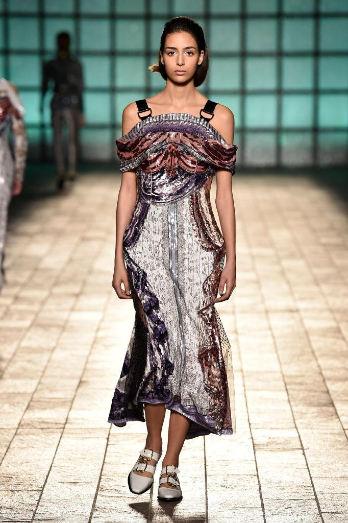 <p>A velvet and embellished multicolor dress at the Mary Katrantzou FW18 show. (Photo: Getty) </p>