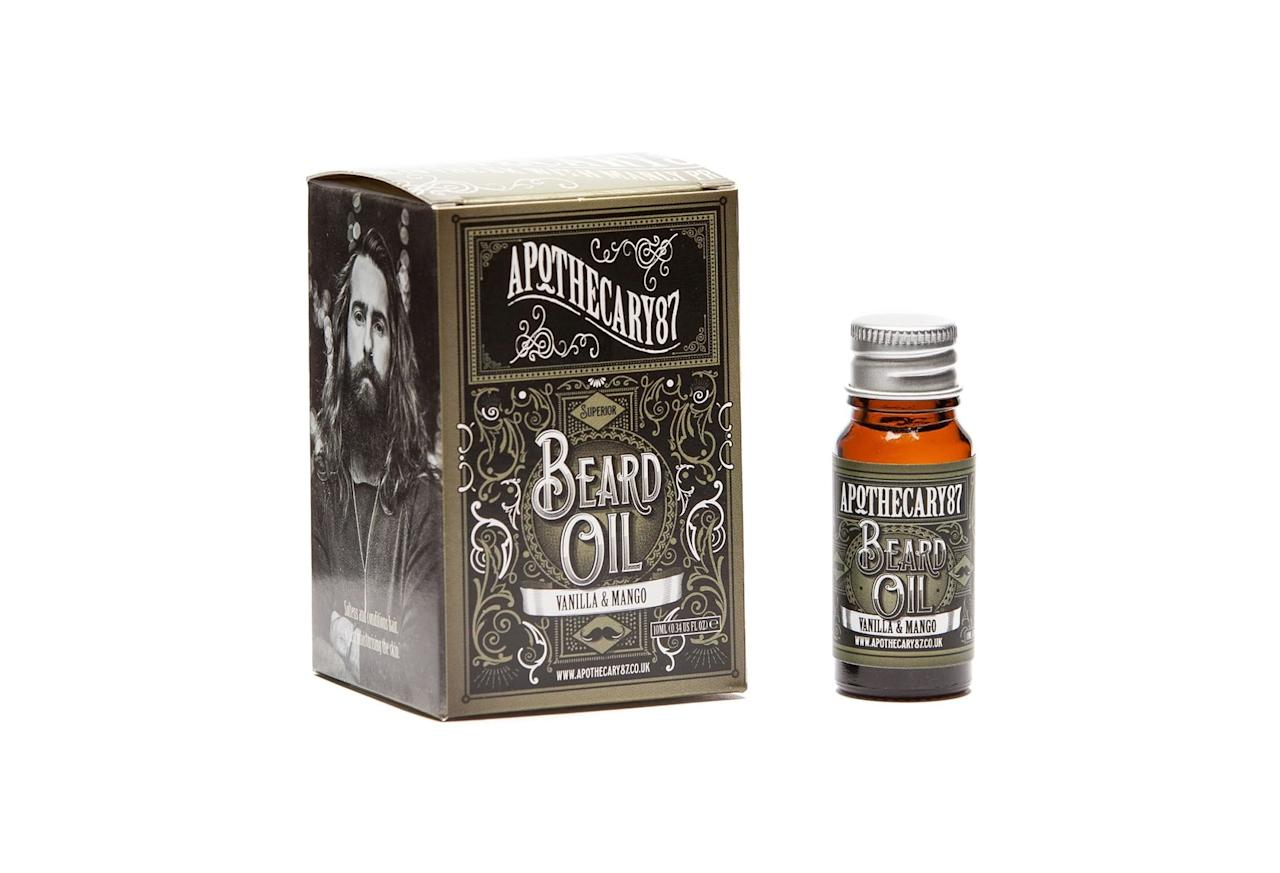 """<p>If your brother's taken """"No Shave November"""" past its deadline and would be offended by the gift of a shaving kit, help him make his facial hair look a little more polished with a bottle of Apothecary 87 beard oil. The divine scents of vanilla and mango combine to create a crisp and sweet yet manly fragrance while the product conditions his beard to make it soft and healthy.</p> <p><strong>To buy:</strong> $15; <a href=""""https://click.linksynergy.com/deeplink?id=93xLBvPhAeE&mid=39687&murl=https%3A%2F%2Fwww.wolfandbadger.com%2Fus%2Fapothecary-87-vanilla-mango-beard-oil-10ml%2F&u1=RS%2C59BestChristmasGiftsforYourBrotherin2017%2Cdarganb%2CGIF%2CGAL%2C569695%2C201811%2CI,GIFTGUIDE"""" target=""""_blank"""">wolfandbadger.com</a>.</p>"""