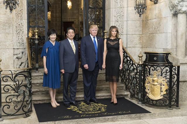 <p>For the Governor's Ball, Melania opted for a lace Dolce and Gabbana dress. <em>[Photo: Getty]</em> </p>