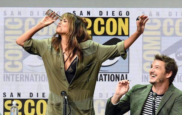 Halle Berry chugged whiskey onstage at Comic-Con Thursday. (Photo: Getty Images)