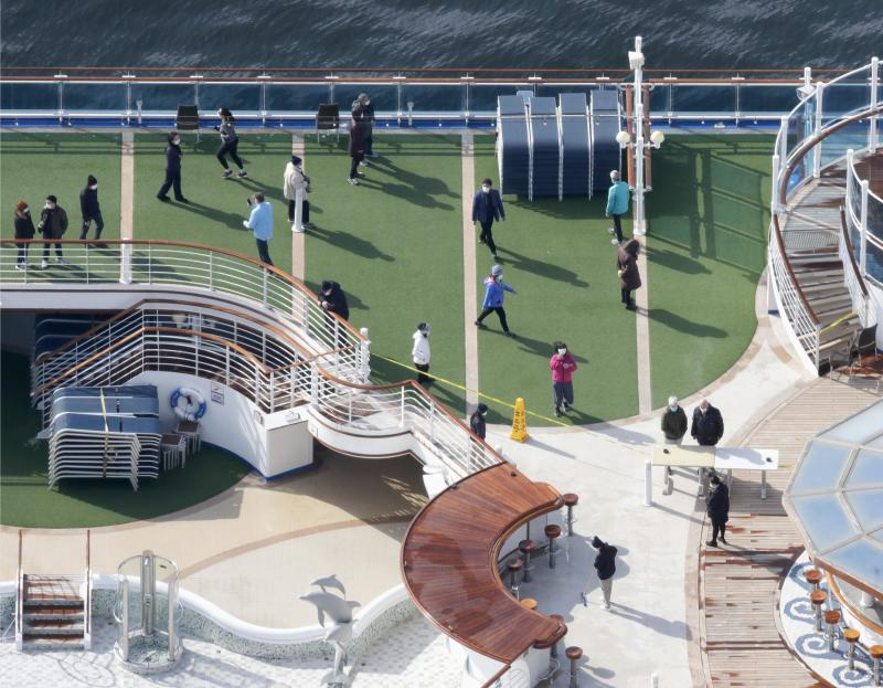 Photo taken from a Kyodo News helicopter show passengers strolling on the deck of the cruise ship Diamond Princess docked at the port of Yokohama.