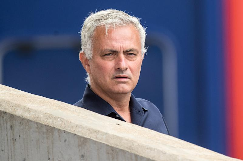 LONDON, ENGLAND - JULY 26: manager Jose Mourinho of Tottenham Hotspur looks on during the Premier League match between Crystal Palace and Tottenham Hotspur at Selhurst Park on July 26, 2020 in London, United Kingdom. (Photo by Sebastian Frej/MB Media/Getty Images)