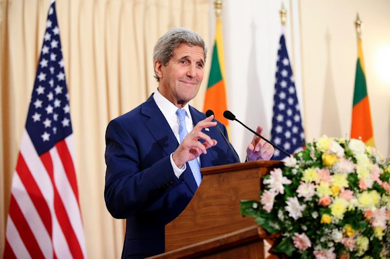 US Secretary of State John Kerry speaks during a press conference in Colombo, on May 2, 2015 (AFP Photo/Andrew Harnik)