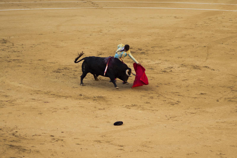 Spanish bullfighter David Galan performs with a Jose Escolar's ranch fighting bull during a bullfight of the San Isidro fair at Las Ventas bullring in Madrid, Monday, May 13, 2013. For a month bullfights take place every afternoon in what has been recognized as one of the most important bullfighting fairs in the world. Bullfighting is an ancient tradition in Spain and the season runs from March to October. (AP Photo/Daniel Ochoa de Olza)