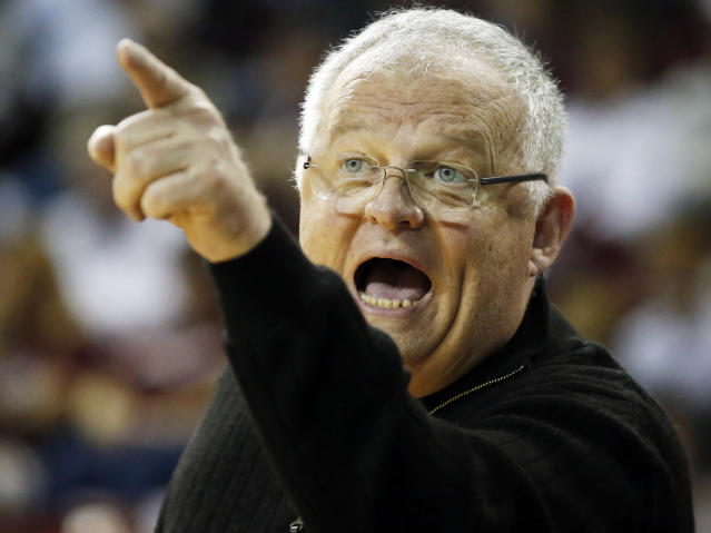 FILE - In this March 18, 2016, file photo, Chattanooga head coach Jim Foster yells during a first-round women's college basketball game against Mississippi State in the NCAA Tournament in Starkville, Miss. Chattanooga's Jim Foster is retiring after a four-decade career in which he won more than 900 games. He's the only women's basketball coach to earn NCAA Tournament bids with four different schools. The school said in a statement Tuesday, May 8, 2018, the 69-year-old coach wanted to spend more time with his family. (AP Photo/Rogelio V. Solis, File)