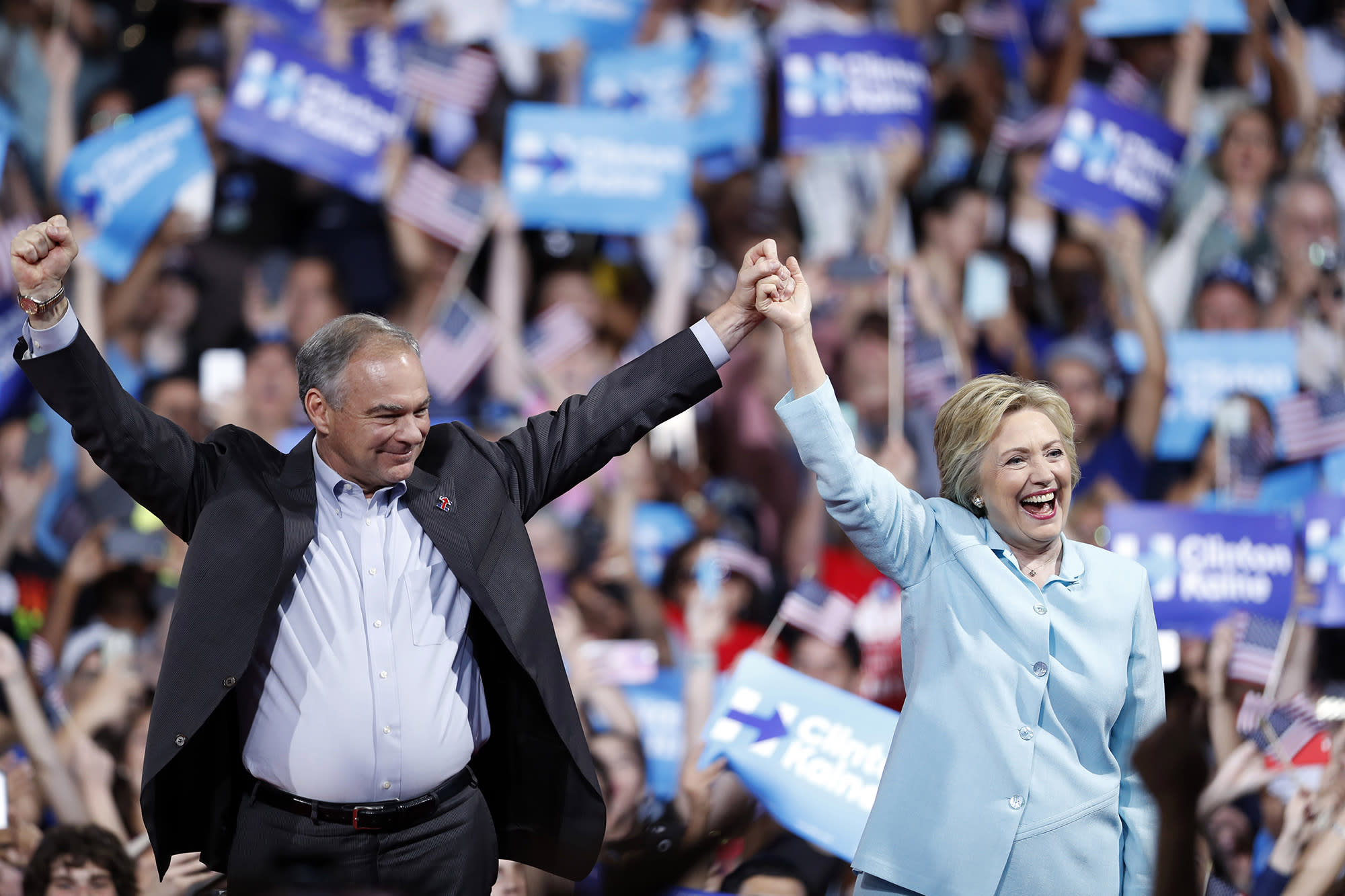 Hillary Clinton and Sen. Tim Kaine of Virginia. (Photo: Mary Altaffer/AP)