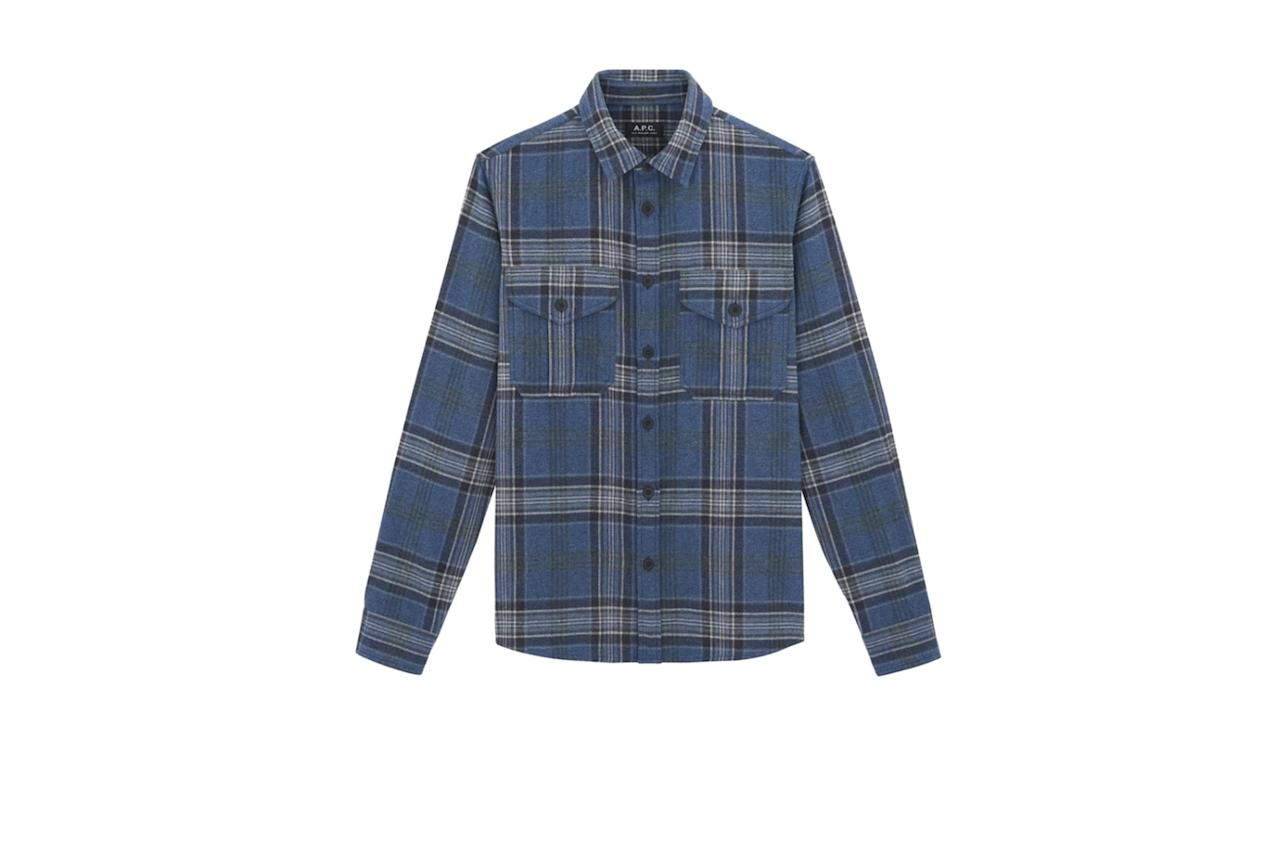 """$290, A.P.C.. <a href=""""https://www.apc-us.com/products/breton-overshirt-cocty-h02505?variant=19472370303032"""">Get it now!</a>"""
