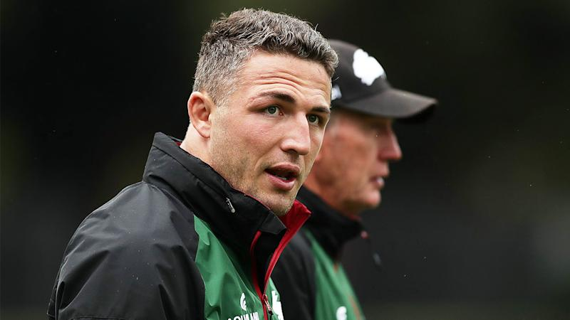 Sam Burgess (pictured front) at South Sydney Rabbitohs training.