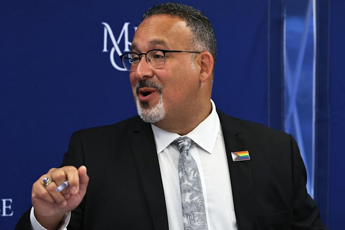NEW YORK, NEW YORK - JUNE 14: U.S. Secretary of Education Miguel Cardona speaks during a roundtable discussion at Mercy College on June 14, 2021 in the Pelham Bay neighborhood of the Bronx borough in New York City. Secretary of Education Miguel Cardona was joined by Rep. Jamaal Bowman (D-NY), University of the State of New York Commissioner of Education and President Dr. Betty Rosa, New York City Department of Education Chancellor Meisha Porter as well as NYC students and teachers to discuss education and how to improve the teacher pipeline, especially for students of color.   (Photo by Michael M. Santiago/Getty Images)