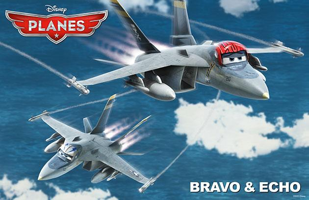 """Fighter jets Bravo and Echo in Disney's """"Planes"""""""