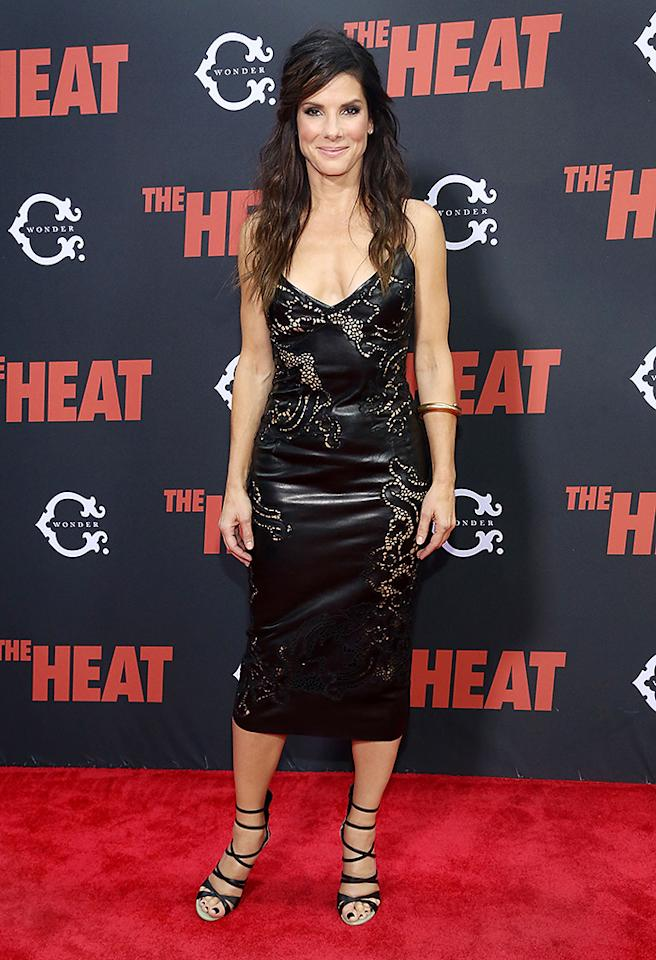 "NEW YORK, NY - JUNE 23:  Sandra Bullock attends ""The Heat"" New York Premiere at Ziegfeld Theatre on June 23, 2013 in New York City.  (Photo by Astrid Stawiarz/Getty Images)"