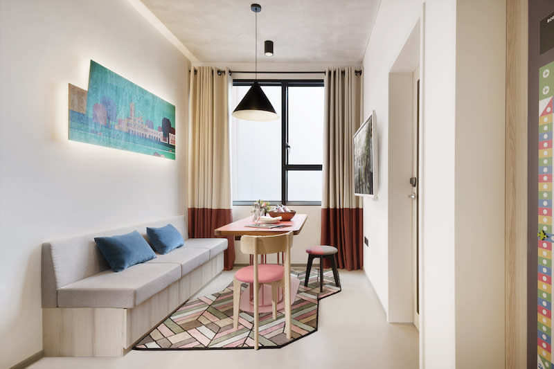 The apartment's living room. Photo: lyf Funan Singapore