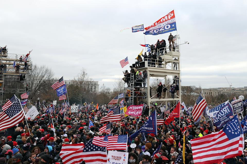 Protesters gather outside the U.S. Capitol Building on January 06, 2021 in Washington, DC. (Tasos Katopodis/Getty Images)