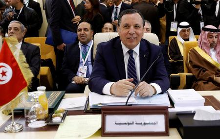 Tunisia's Foreign Affairs Minister Khemaies Jhinaoui attends a preparatory meeting between Arab foreign ministers ahead of the Arab summit in Tunis, Tunisia March 29, 2019. REUTERS/Zoubeir Souissi