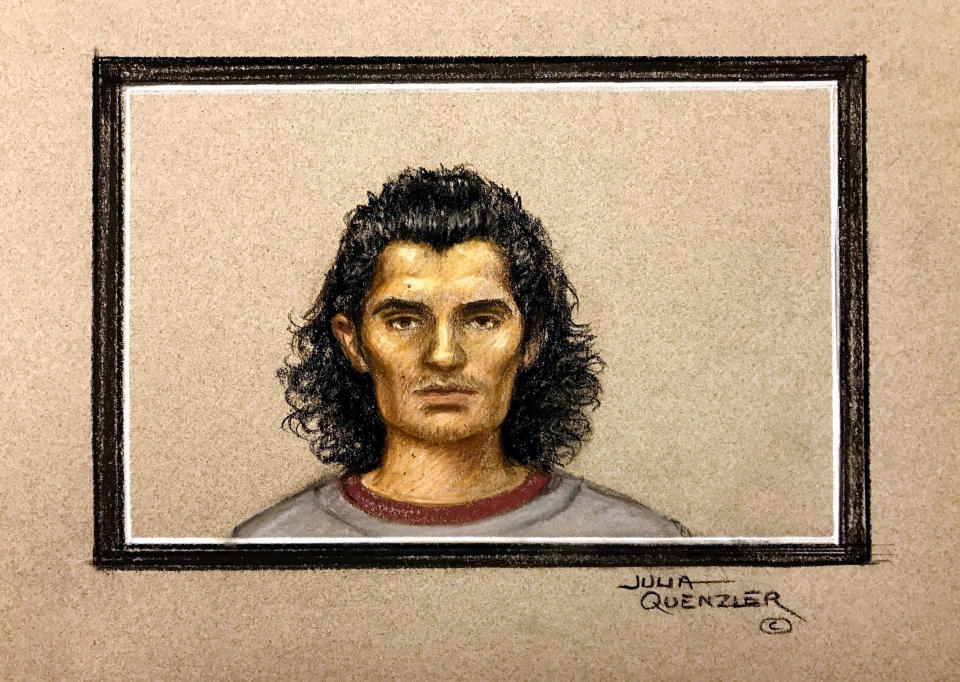 Ahmed Hassan pictured in a court sketch during his trial. (SWNS)