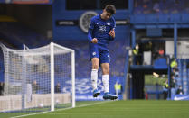 Chelsea's Kai Havertz celebrates after scoring his side's second goal during the English Premier League soccer match between Chelsea and Fulham at Stamford Bridge Stadium in London, Saturday, May 1, 2021. (Justin Setterfield/Pool via AP)