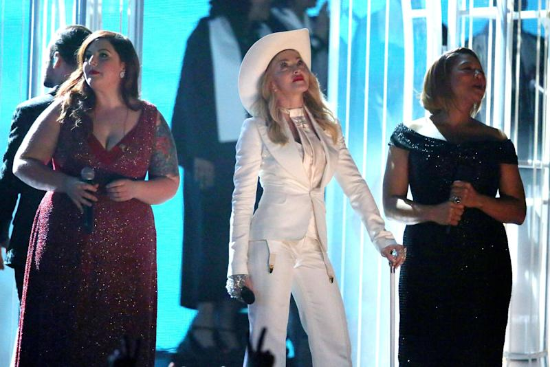 "Mary Lambert, from left, Madonna, and Queen Latifah appear on stage during a performance of ""Same Love"" at the 56th annual Grammy Awards at Staples Center on Sunday, Jan. 26, 2014, in Los Angeles. (Photo by Matt Sayles/Invision/AP)"