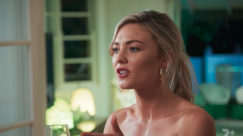 Sam Frost looks nervous in All New Monty episode