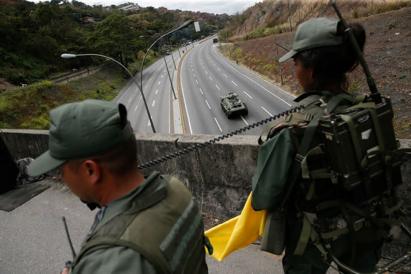 Members of the Venezuelan army take part in a military exercise in Caracas