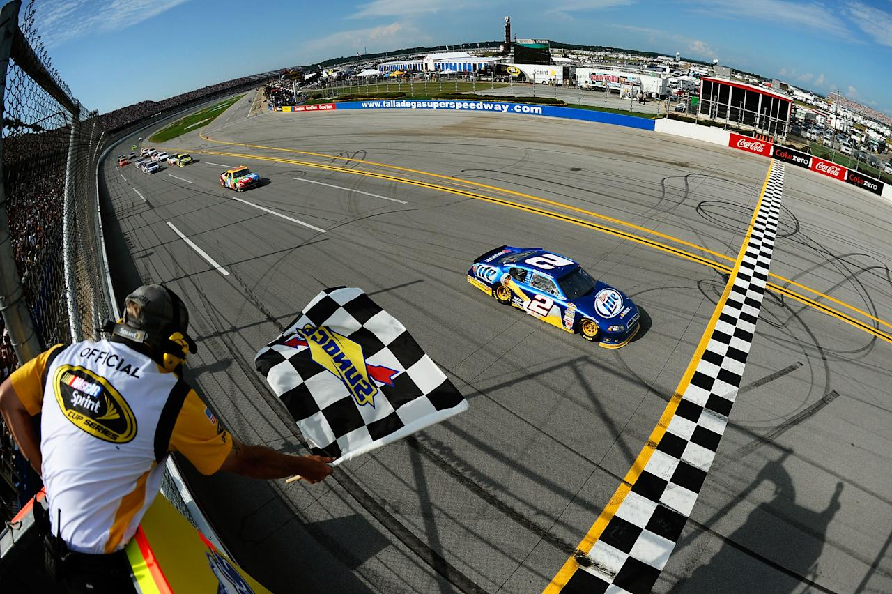 TALLADEGA, AL - MAY 06:  Brad Keselowski, driver of the #2 Miller Lite Dodge, races to the checkered flag to win the NASCAR Sprint Cup Series Aaron's 499 at Talladega Superspeedway on May 6, 2012 in Talladega, Alabama.  (Photo by Jared C. Tilton/Getty Images)