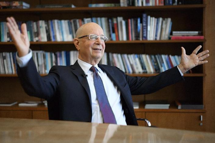 """Founder and Executive Chairman of the World Economic Forum Klaus Schwab said rapid shifts in technology, economies and social structures have fuelled """"a certain anxiety"""" (AFP Photo/FABRICE COFFRINI)"""