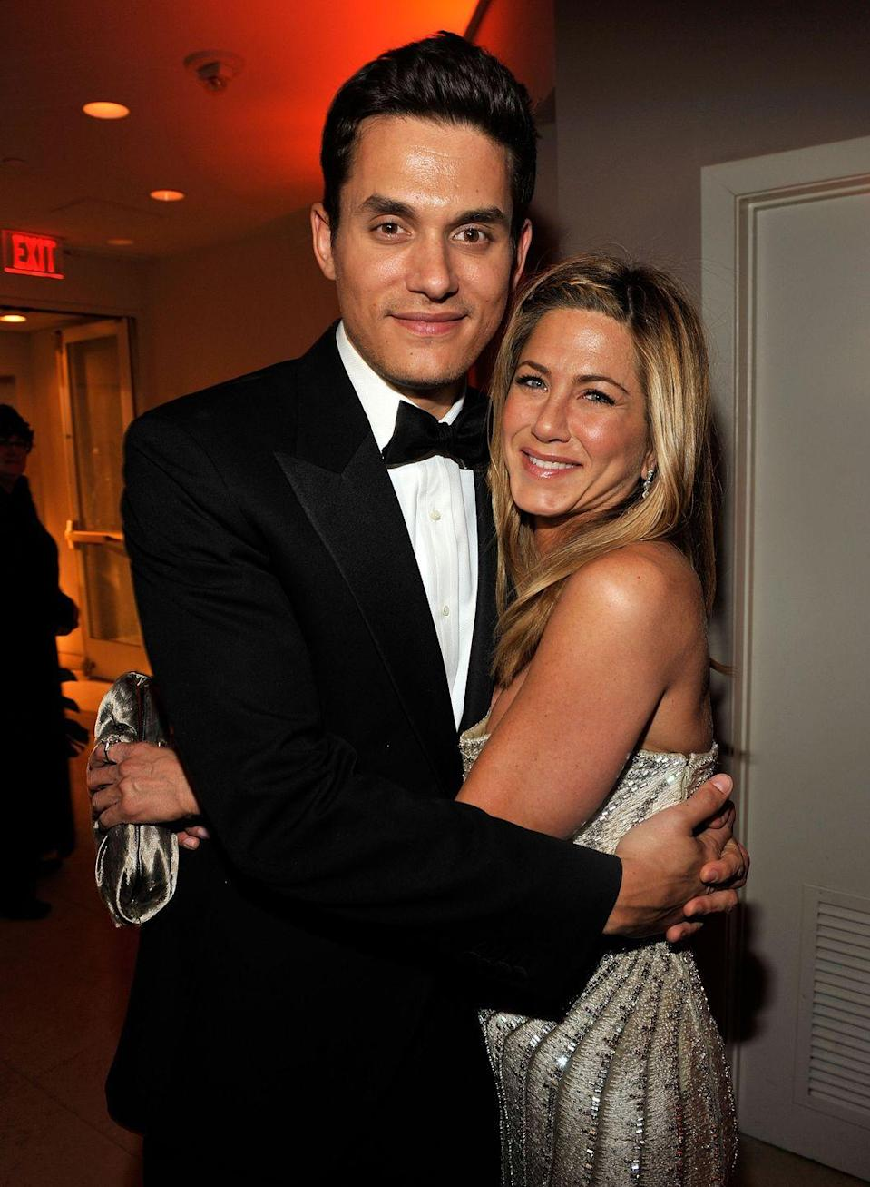 """<p>John Mayer and Jen dated on and off in 2009. Though it didn't end well, John <a href=""""https://www.marieclaire.co.uk/entertainment/people/john-mayer-jennifer-aniston-break-up-645653"""" rel=""""nofollow noopener"""" target=""""_blank"""" data-ylk=""""slk:later regretted"""" class=""""link rapid-noclick-resp"""">later regretted</a> how he acted toward the <em>Dumplin'</em> actress.<br></p>"""
