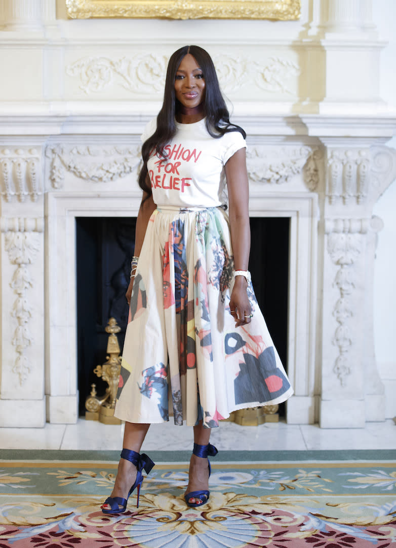 After being nominated for the Fashion Icon award, the supermodel attended the ceremony in London wearing a Roksanda skirt with a Fashion for Relief t-shirt. <em>[Photo: Getty]</em>