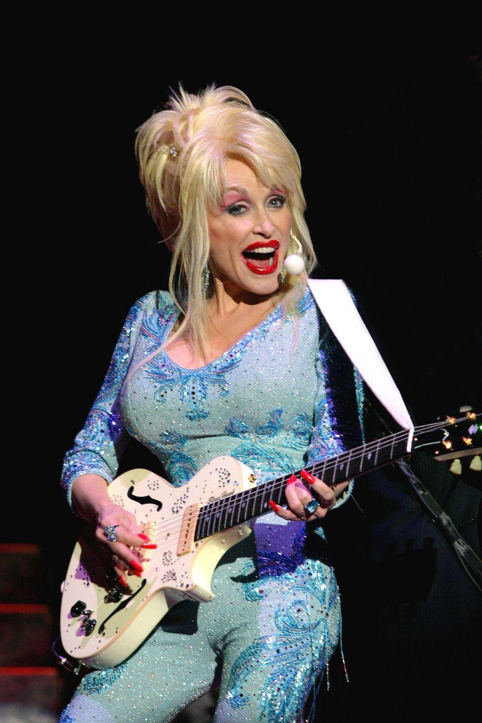 <p>Yes, this skin-tight, baby-blue jumpsuit <em>was</em> made for Dolly Parton. </p>