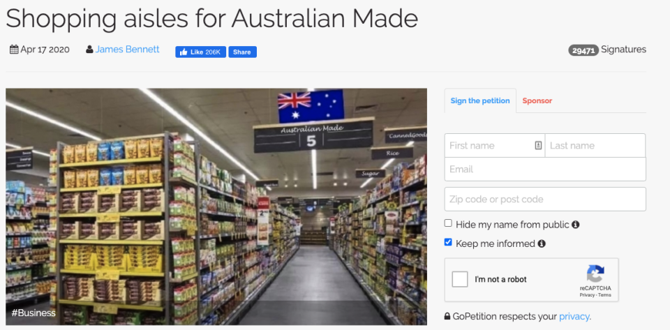 The petition is calling for an Australian aisle in major Australian supermarkets. Source: GoPetition