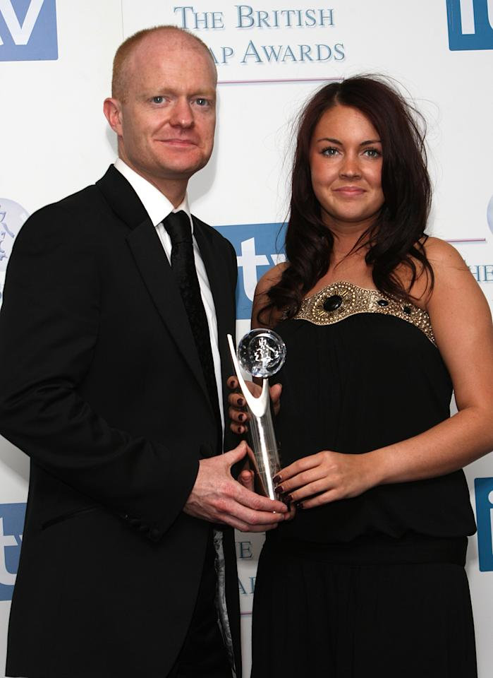 Eastenders' Jake Wood And Lacey Turner With The Best Storyline Award At The British Soap Awards 2008 At Bbc Television Centre, Wood Lane, London, W12. Publication Of This Image And Winner Results, In Whatever Medium, Whether Print, Broadcast Or Online Is Under Strict Embargo Til 00:01 Gmt Sunday 4Th May 2008. (Photo by Mark Cuthbert/UK Press via Getty Images)