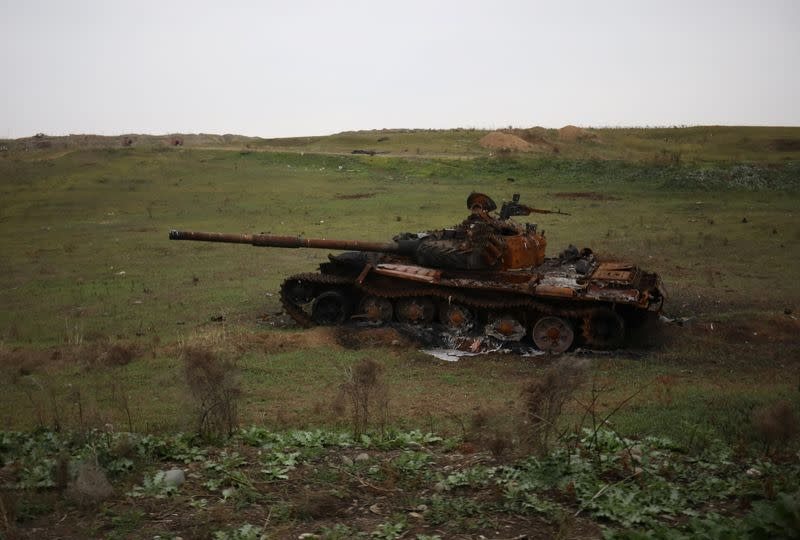 A view shows a destroyed tank in Fuzuli district in the region of Nagorno-Karabakh