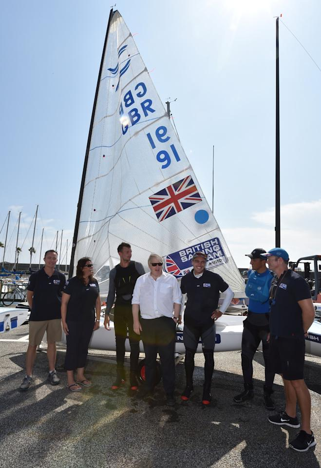 Britain's Foreign Secretary Boris Johnson meets with members of British Olympic sailing team in Hayama, Kanagawa prefecture, Japan July 22, 2017. REUTERS/Kazuhiro Nogi/Pool