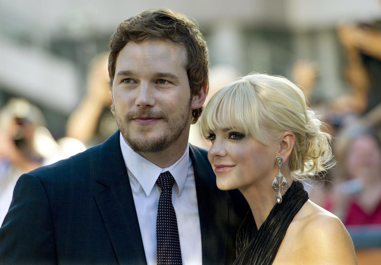 "Actors Chris Pratt, left, and Anna Faris, arrive at the screening of the new movie ""Moneyball"" at the Toronto International Film Festival in Toronto on Friday, Sept., 9, 2011. (AP Photo/The Canadian Press, Nathan Denette)"