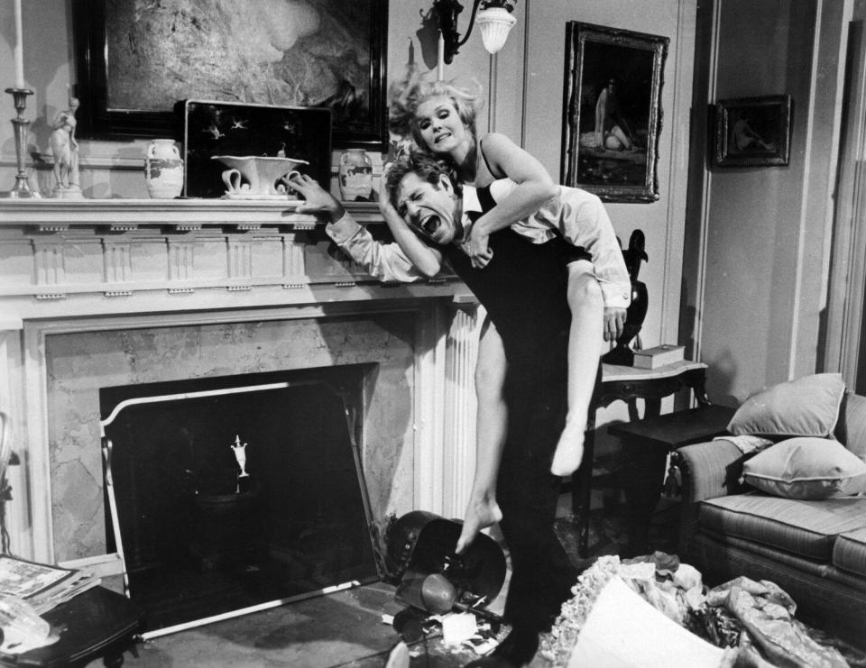 """George Segal and actress Jean Hale of the 20th Century-Fox movie """"The St. Valentine's Day Massacre"""""""
