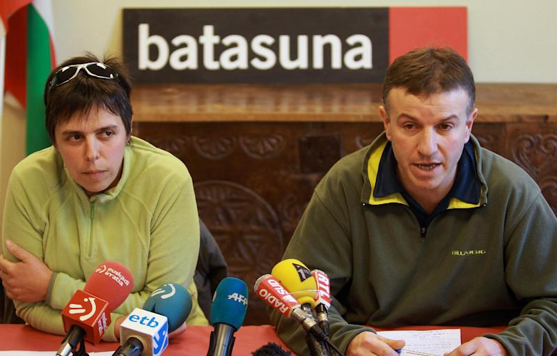 Jean Claude Aguerre, right, and Maite Goyenetxe, French leaders of Batasuna, the outlawed Basque party in Spain, announce the dissolution of the party in France during a press conference in Bayonne, southwestern France, Thursday, Jan. 3, 2013. The party continued to operate in France after being banned in Spain for alleged ties to armed separatist group ETA. The move comes after ETA in 2011 announced it had abandoned violence following a four-decade campaign for an independent homeland that claimed more than 800 lives. (AP Photo/Bob Edme)
