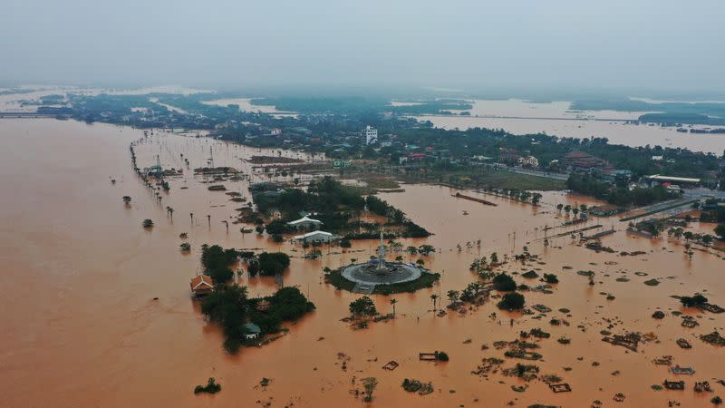 Flooded villages are seen in Quang Tri province