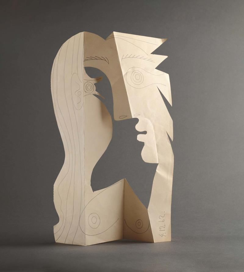 Pablo Picasso, Head of a Woman, done with pencil on cut and folded paper.