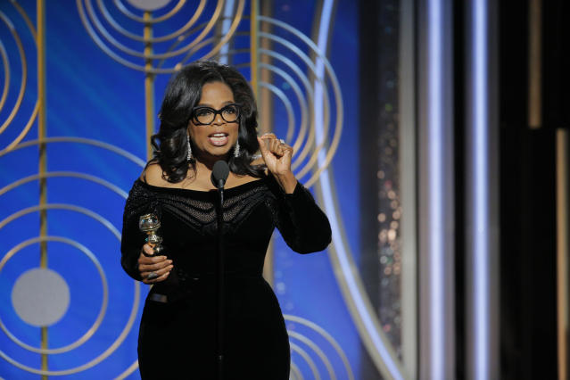 Oprah Winfrey accepts the 2018 Cecil B. DeMille Award at the 75th Golden Globe Awards. (Photo: Paul Drinkwater/NBCUniversal via Getty Images)