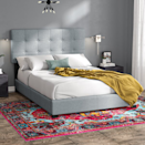 """<p><strong>Andover Mills</strong></p><p>wayfair.com</p><p><strong>$131.90</strong></p><p><a href=""""https://go.redirectingat.com?id=74968X1596630&url=https%3A%2F%2Fwww.wayfair.com%2Ffurniture%2Fpdp%2Fandover-mills-finnigan-tufted-upholstered-low-profile-standard-bed-w001503244.html&sref=https%3A%2F%2Fwww.cosmopolitan.com%2Flifestyle%2Fg34968161%2Fbest-cheap-bed-frames%2F"""" rel=""""nofollow noopener"""" target=""""_blank"""" data-ylk=""""slk:Shop Now"""" class=""""link rapid-noclick-resp"""">Shop Now</a></p><p>Under the word """"oasis"""" in the dictionary, you'll find a picture of this bed. Comfy, luxurious, and sophisticated as hell, this upholstered bed is basically all I've ever needed to feel like I've really made it in this world.</p>"""