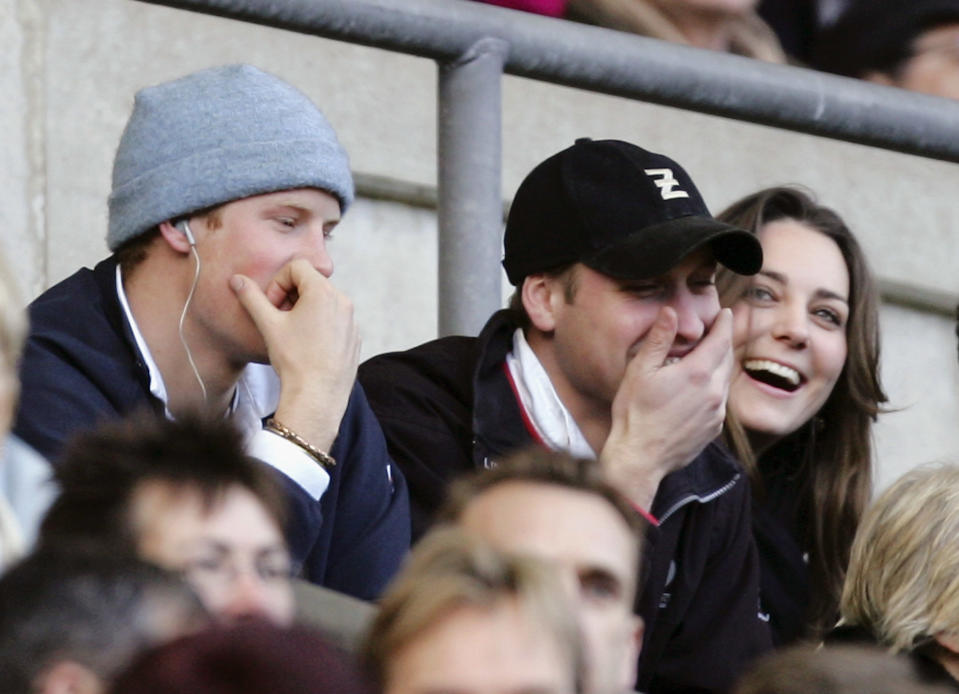 Kate clearly made her future husband chuckle during the RBS Six Nations Championship match between England and Italy at Twickenham on February 2007 in London, England. (PA Images)
